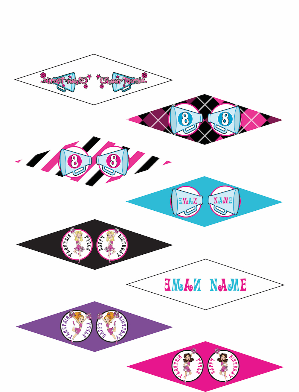 graphic relating to Printable Cupcakes Toppers called Customizable Cheer Bash Printable Cupcake Toppers